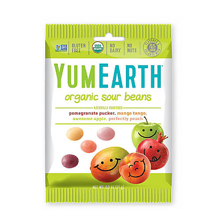 Yummy Earth Organic Sour Beans, 2.5 Oz, Pack Of 12