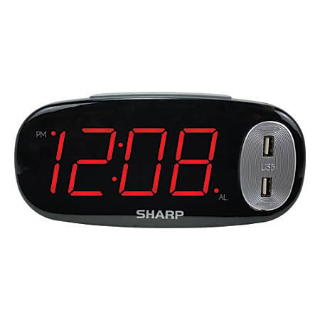 "Sharp® Large Display LED Digital Alarm Clock With 2 USB Charge Ports, 3 1/2"" x 7 1/2"" x 2"", Black"