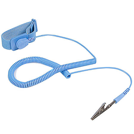"""StarTech.com ESD Anti Static Wrist Strap Band with Grounding Wire - AntiStatic Wrist Strap - Anti-static wrist band - 1 - 0.6"""" Height x 0.6"""" Width x 70.8"""" Length - Blue - Elastic - TAA Compliant"""