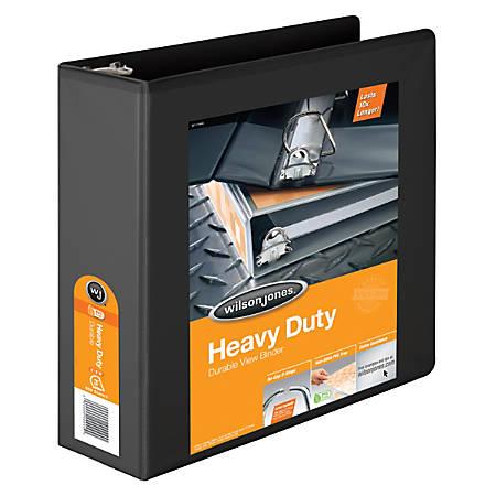 """Wilson Jones® Heavy-Duty View Binders, With D-Rings, 3"""" Rings, 48% Recycled, Black"""