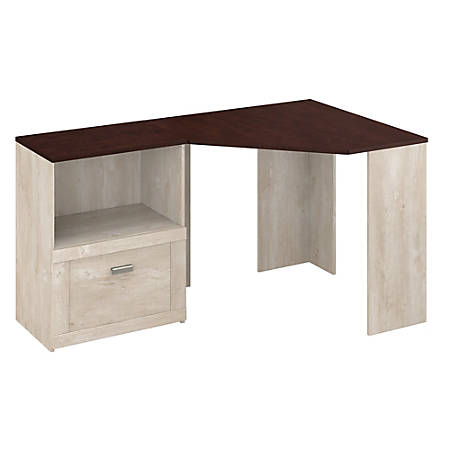 Bush Furniture Townhill Corner Desk With Lateral File Cabinet, Washed Gray/Madison Cherry, Standard Delivery