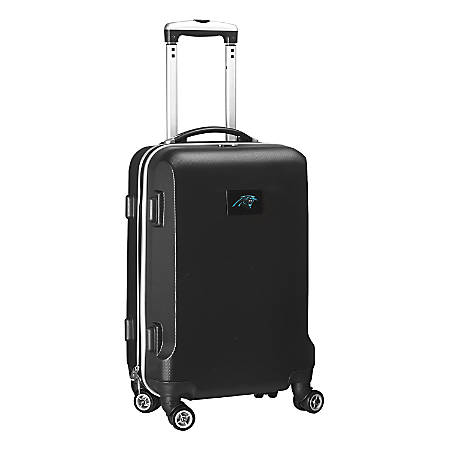 """Denco 2-In-1 Hard Case Rolling Carry-On Luggage, 21""""H x 13""""W x 9""""D, Carolina Panthers, Black"""