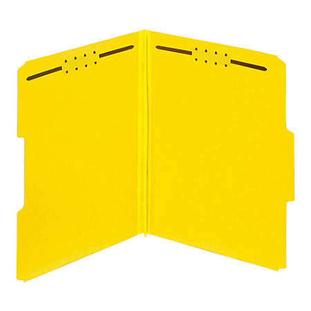 Pendaflex® Color Pressboard Tab Folders With Fasteners, Letter Size, 1/3-Cut Tabs, 60% Recycled, Yellow, Pack Of 25 Folders