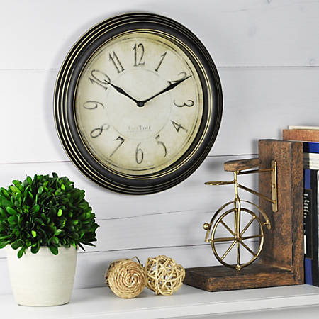 """FirsTime® Distressed Round Wall Clock, 9 3/4"""", Distressed Black"""