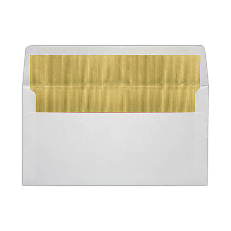 """LUX Photo Greeting Foil-Lined Invitation Envelopes With Peel & Press Closure, A7, 4 3/8"""" x 8 1/4"""", White/Gold, Pack Of 50"""