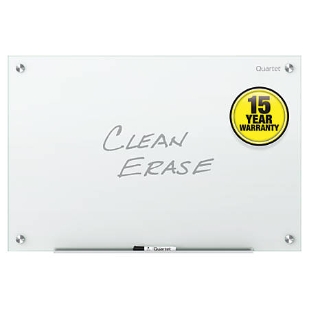 "Quartet Infinity™ Frameless Glass Dry-Erase Board, Non-Magnetic, 36"" x 24"", White"