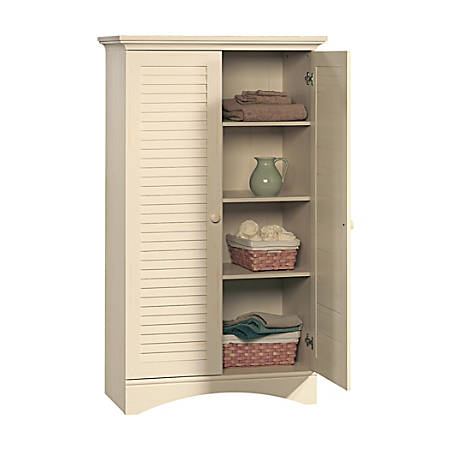 Sauder® Harbor View Storage Cabinet, 4-Shelf, Antiqued White