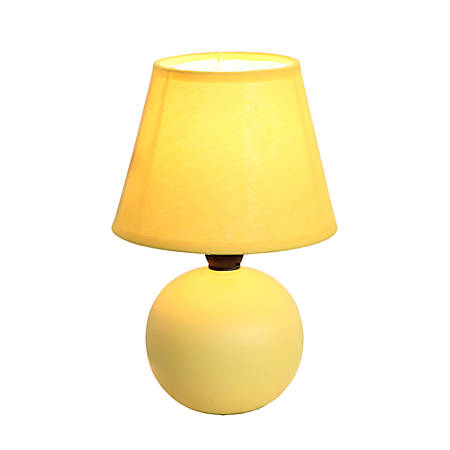 "Simple Designs Mini Globe Table Lamp, 8 7/8""H, Yellow Shade/Yellow Base"