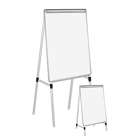 "MasterVision™ Easy-Clean™ Quad Pod 4-Leg Dry-Erase Easel, 27"" x 35"", Silver"