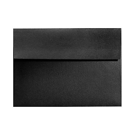 "LUX Invitation Envelopes With Moisture Closure, A9, 5 3/4"" x 8 3/4"", Black Satin, Pack Of 250"