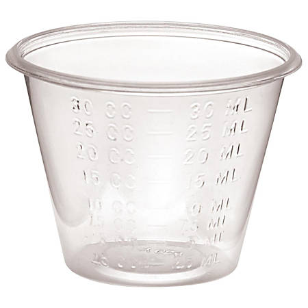 Medline Non-Sterile Graduated Plastic Medicine Cups, mL, 1 Oz, Clear, Pack Of 5,000