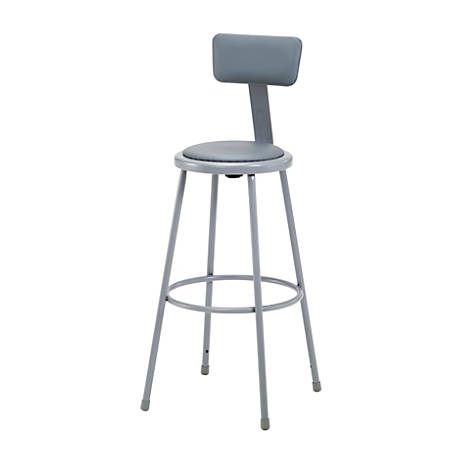 """National Public Seating Vinyl-Padded Stools With Backs, 30""""H, Gray, Set Of 3"""