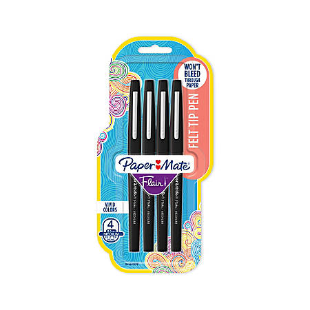 Paper Mate® Flair® Porous-Point Pens, Medium Point, 1.0 mm, Black Barrel, Black Ink, Pack Of 4