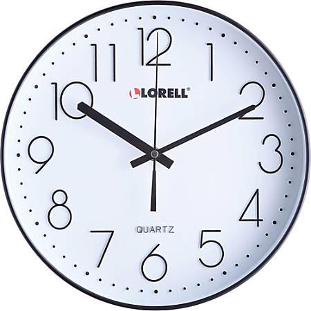 "Lorell 12"" Quiet Wall Clock - Black"