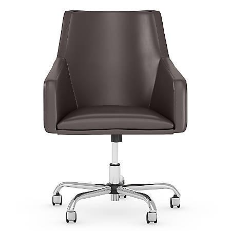 Bush Business Furniture London Mid-Back Leather Box Chair, Brown, Premium Installation