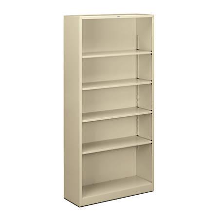 HON® Brigade® Steel Bookcase, 5 Shelves, Putty