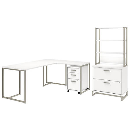 """kathy ireland® Office by Bush Business Furniture Method 72""""W L Shaped Desk with 30""""W Return, File Cabinets and Hutch, White, Premium Installation"""