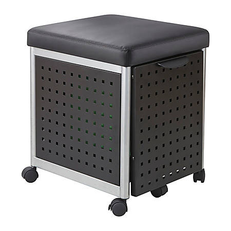 "Scoot 18""D Vertical 1-Drawer Mobile File Cabinet With Cushioned Seat, Metal, Black"