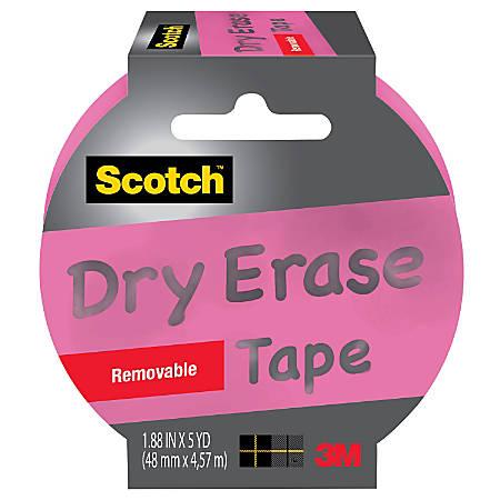 "Scotch® Dry Erase Tape, 3"" Core, 1.88"" x 5 Yd., Pink"