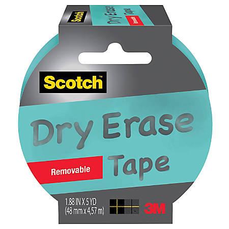 "Scotch® Dry-Erase Tape, 3"" Core, 1.88"" x 5 Yd., Blue"