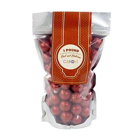 Sweetworks Foil-Wrapped Solid Milk Chocolate Balls, 1 Lb, Red