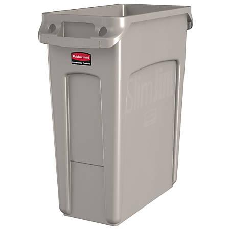 Rubbermaid® Slim Jim Rectangular Polyethylene Vented Waste Receptacle, 16 Gallons, Beige