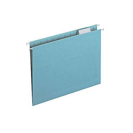 "Smead Colored Hanging Folders with Tabs - Letter - 8 1/2"" x 11"" Sheet Size - 1/3 Tab Cut - Assorted Position Tab Location - Aqua - Recycled - 25 / Box"