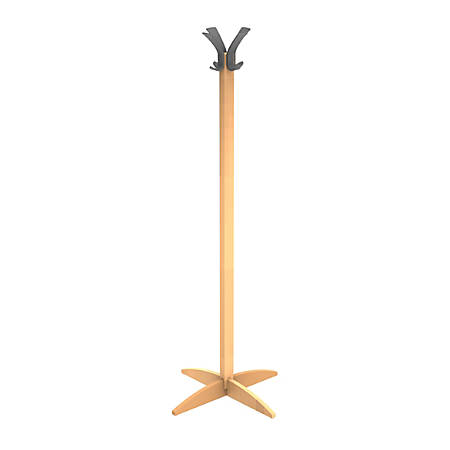 "Alba Wood Coat Stand, 65 1/4""H x 23""W x 23""D, Wood/Black"