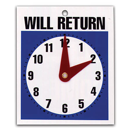 "U.S. Stamp & Sign Message Sign, ""Will Return"" Clock"