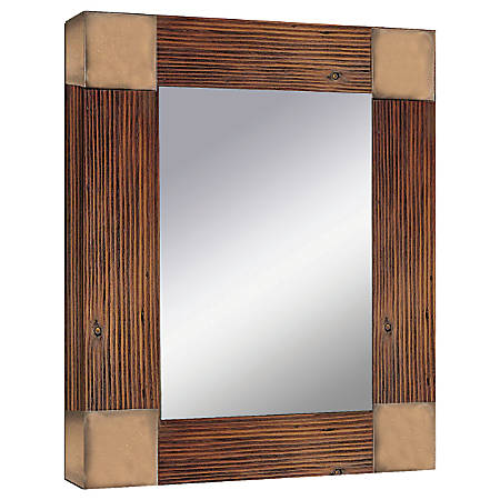 "PTM Images Framed Mirror, Accent, Flat Corners, 20""H x 16""W, Natural Wood"