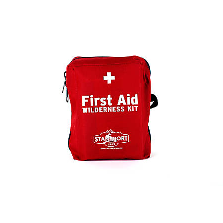 """Stansport Wilderness First Aid Kit, 3 7/10""""H x 7 3/5""""W x 8 9/10""""D, Red"""