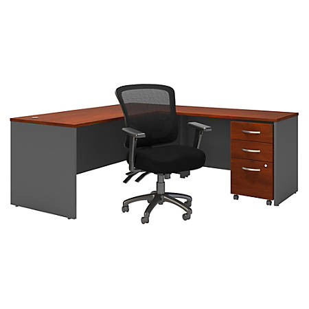 """Bush Business Furniture Components 72""""W L-Shaped Desk With Mobile File Cabinet And Mid-Back Multifunction Office Chair, Hansen Cherry/Graphite Gray, Standard Delivery"""