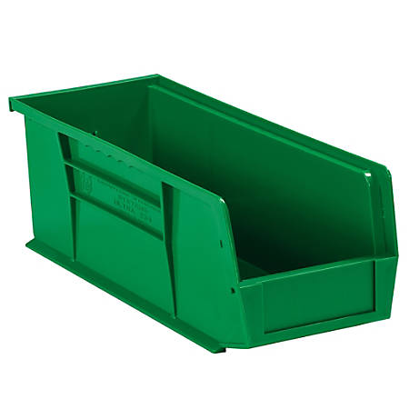 "Office Depot® Brand Plastic Stack And Hang Bin Boxes, 14 3/4"" x 5 1/2"" x 5"", Green, Pack Of 12"