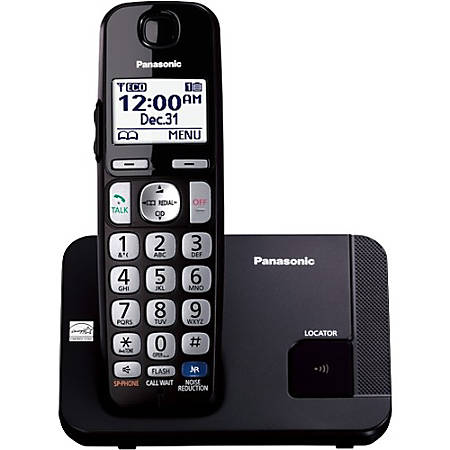 Panasonic KX-TGE210B DECT 6.0 1.90 GHz Cordless Phone, Black