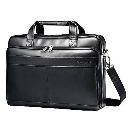 Samsonite LEATHER SLIM BRIEFCASE Color Black