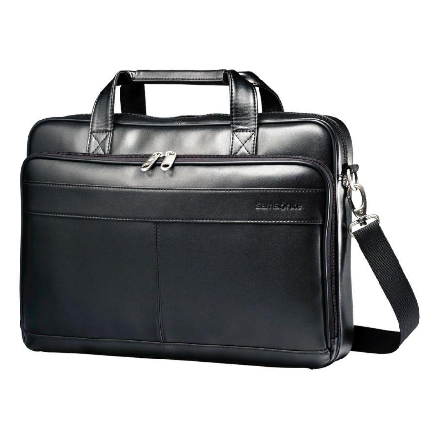 Samsonite Leather Slim Briefcase Color Black Office Depot