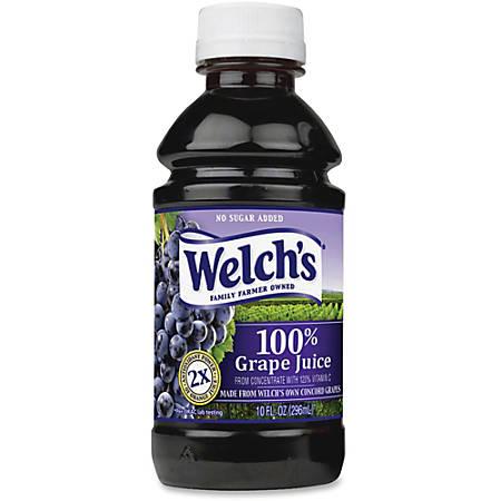 Welch's 100 Percent Grape Juice - Grape Flavor - 10 fl oz (296 mL) - 24 / Carton