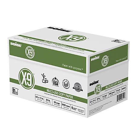 "Boise® X-9® Multi-Use Copy Paper, Letter Size (8 1/2"" x 11""), 20 Lb, Bright White, Ream Of 500 Sheets, Case Of 10 Reams"