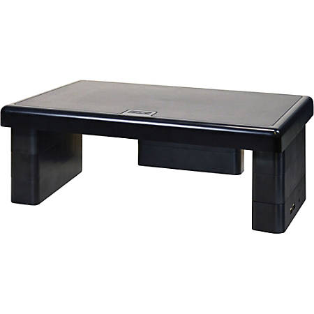 """First Base USB Monitor Stand - 66 lb Load Capacity - 4.8"""" Height x 13"""" Width x 10.5"""" Depth - Black"""