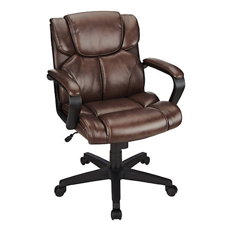 Brenton Studio® Briessa Vinyl Mid-Back Chair, Brown/Black