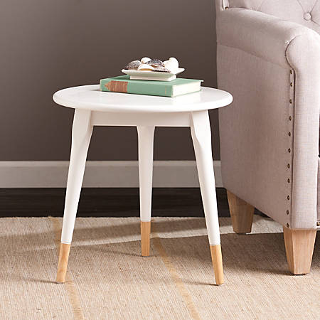 Southern Enterprises Alden Side Table, Round, White/Natural