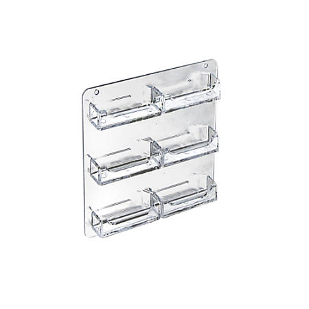 """Azar Displays Business And Gift Card Holders, 6 Pockets, Wall Mount, 8""""H x 10""""W x 5""""D, Clear, Pack Of 2"""