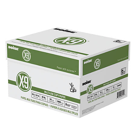 "Boise® X-9® Multi-Use Copy Paper, Legal Size (8 1/2"" x 14""), 20 Lb, Bright White, Ream Of 500 Sheets, Case Of 10 Reams"