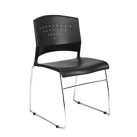 Boss Office Products Stack Chairs, Black/Chrome, Set Of 5 Chairs