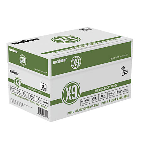 "Boise® X-9® Multi-Use Copy Paper, Ledger Size (11"" x 17""), 20 Lb, Bright White, Ream Of 500 Sheets, Case Of 5 Reams"