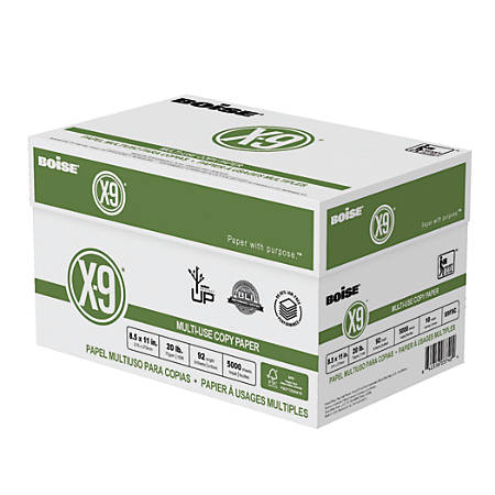 "Boise® X-9® Multi-Use Copy Paper, Letter Size (8 1/2"" x 11""), 20 Lb, FSC® Certified, Ream Of 500 Sheets, Case Of 10 Reams"