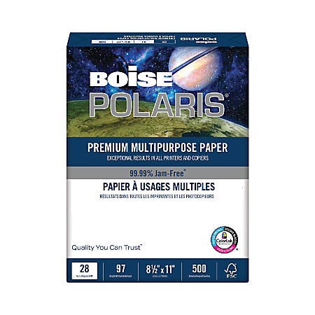 "Boise® POLARIS® Premium Multi-Use Paper, Letter Size (8 1/2"" x 11""), 28 Lb, FSC® Certified, Ream Of 500 Sheets"