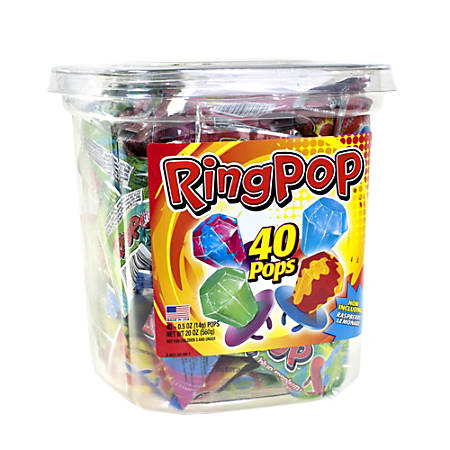Ring Pops Candy, 0.5 Oz, Assorted Flavors, Pack Of 40