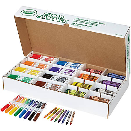 Crayola Crayons/Markers Combo Classpack - Assorted Ink - Assorted Wax - 256 / Box