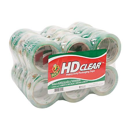 "Duck® HD Clear™ Heavy-Duty Packaging Tape, 3"" Core, 1 7/8"" x 54 5/8 Yd., Crystal Clear, Box Of 24"